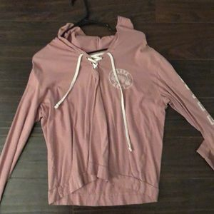 Pink Long Sleeve T-shirt with a hood